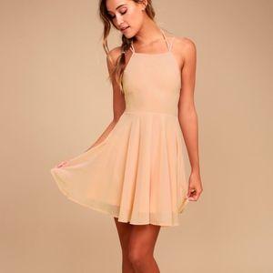 Blush Pink Lace-Up Dress